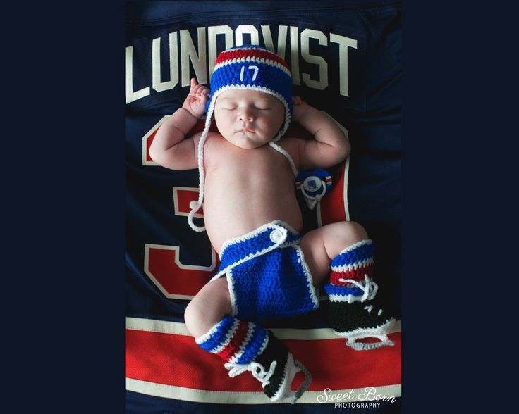 BABY BOY HOCKEY Outfit, New York Rangers pacifier not included, Crochet Baby Hockey Outfit, Knit Baby Hockey Hat, Baby Knit Hockey Skates by Grandmabilt on Etsy