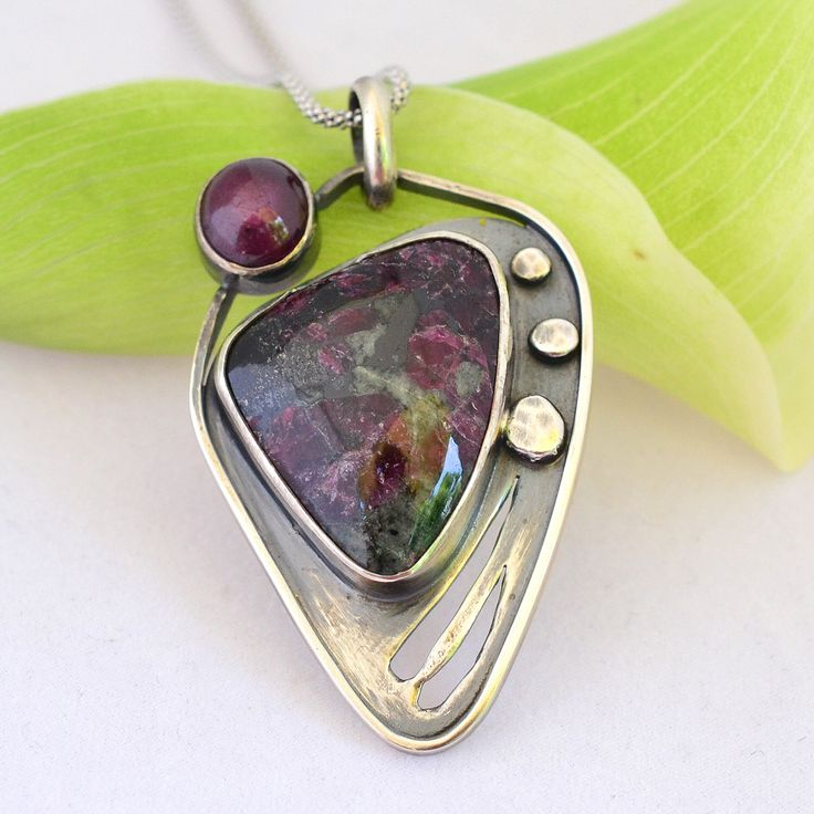 Russian Eudialyte Star Ruby Sterling Pendant, Eudialyte Pendant, Star Ruby…