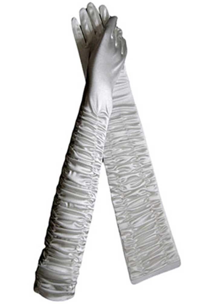 "Opera Length Ruched Satin 21"" Long Bridal Gloves"