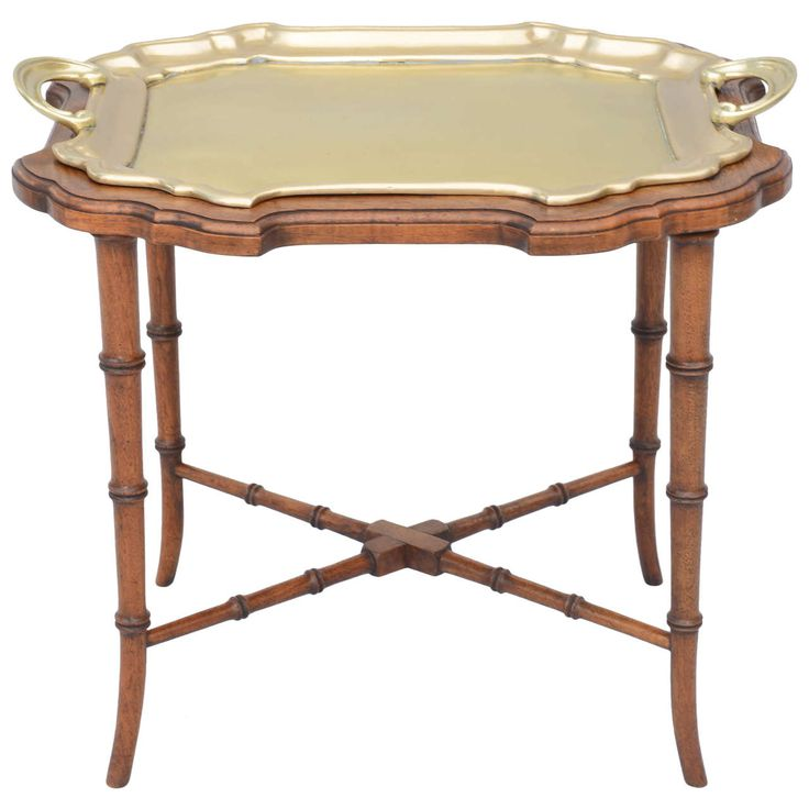 Brass Tray On Faux Bamboo Table Base