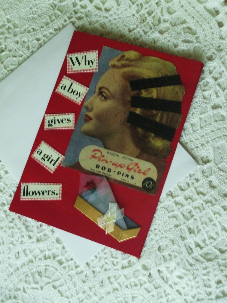 Handmade greeting card, original design, collage