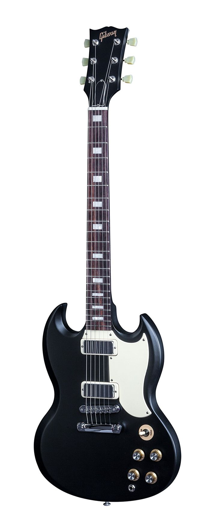 """Gibson SG Special 2016 T Electric Guitar, Satin Ebony. Along with other guitars in Gibson USA's 2016 Traditional series the SG Faded has our original width of 1 11/16"""" at the nut, historic neck heel shape, standard high-quality manual tuners. With a traditional Graph Tech nut, and a thicker one-piece rosewood fingerboard with a hand-rubbed oil finish for a plush look and feel. Put it together, and its superb value in an American-made Gibson guitar that captures the vibe of the great…"""