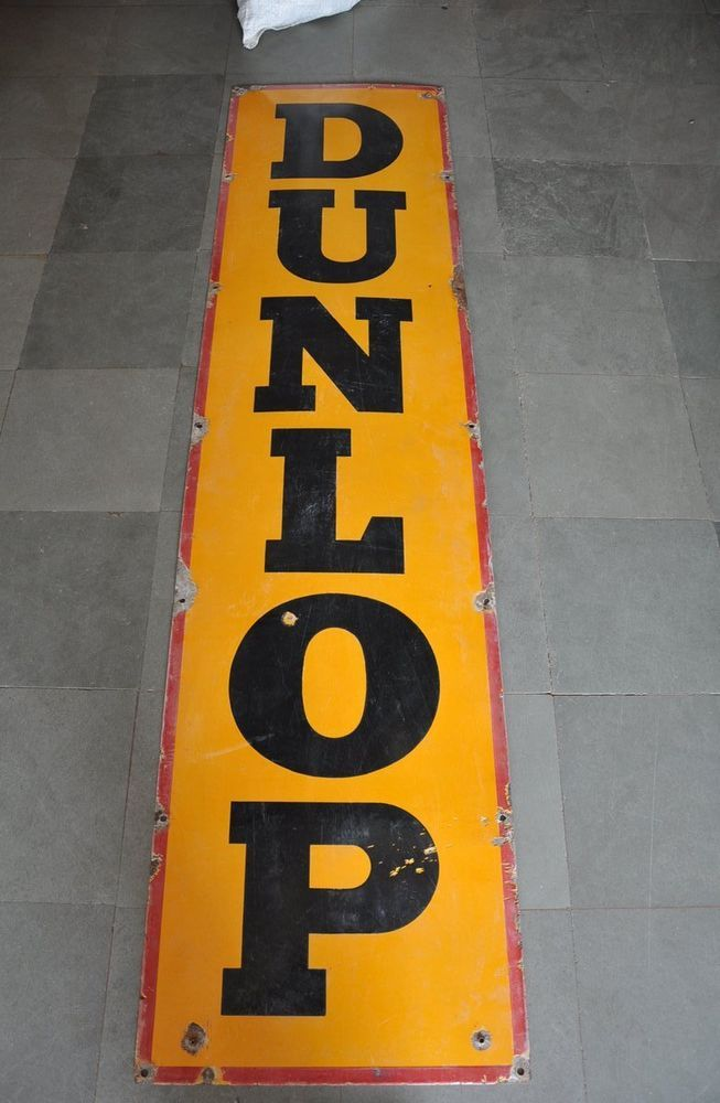 Vintage 6 Feet Long Dunlop Products Ad Porcelain Enamel Signboard