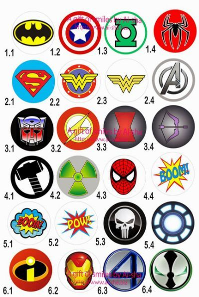 Superhero Symbols Free Printable dad Pinterest Superhero