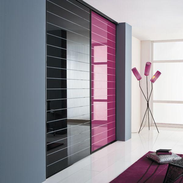 charmant KAZED - portes de placard coulissantes Traditionnel verres laqués rainurés  Noir et Framboise