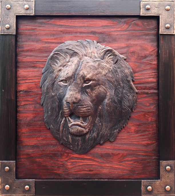 Lion Head Sculpture Wall Hanging Hand Crafted. Wooden Frame: 760 x 840mm Lion Head M1 sculpture casting agent and stained wood. www.Goodieshub.com