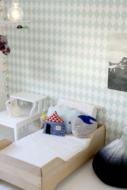 by Kenziepoo | Harlequin Wallpaper: Ferm Living, pillows: Lucky Boy Sunday: Ferm Living, Bed, Wallpaper, Nursery, Room Kids, Design, Kids Rooms