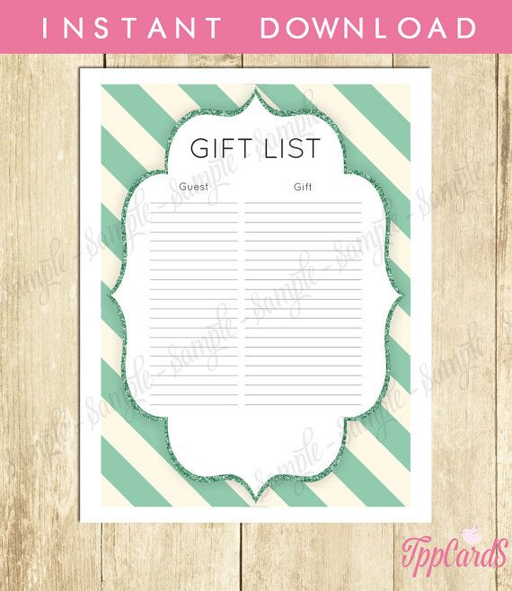 Gold And Teal Shower Gift List Glitter Baby Shower List Elegant Baby Shower  Sign In Sheet Chic Baby Shower Registry 0047ts Tppcards