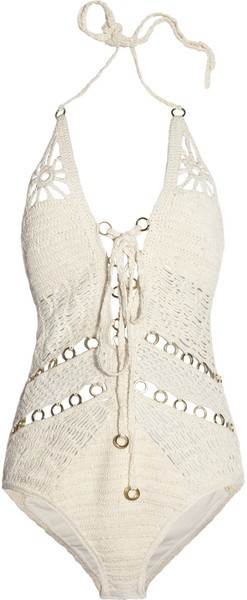 Jets By Jessika Allen Entice Crocheted Cotton Swimsuit in White