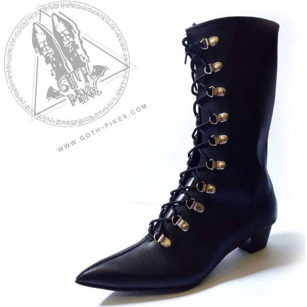 Goth Pikes Cuban Heels Long Lace-Up Eyelits Boots Winklepickers Gothic... ($125) ❤ liked on Polyvore featuring shoes, boots, black, fleece-lined boots, black boots, cuban heel boots, black laced shoes and gothic boots