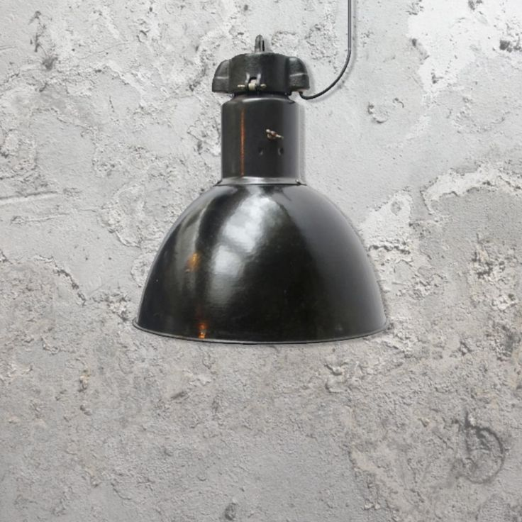 E2 Contract Lighting | Products | Factory Reclaimed Pendant CLB-00451 | UK | is vintage industrial lighting as a large black pendant.