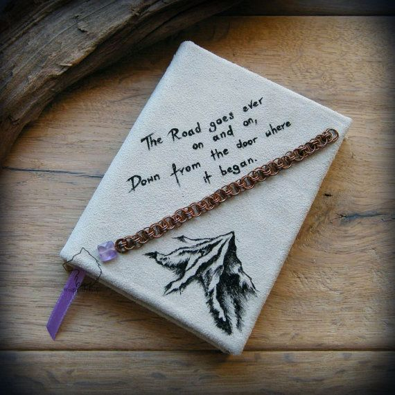 Lonely Mountain A6 leather journal hardcover hand bound and