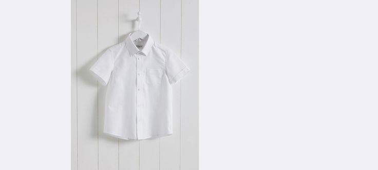 Chemise oxford garçon manches courtes - Blanc+Ciel - 1