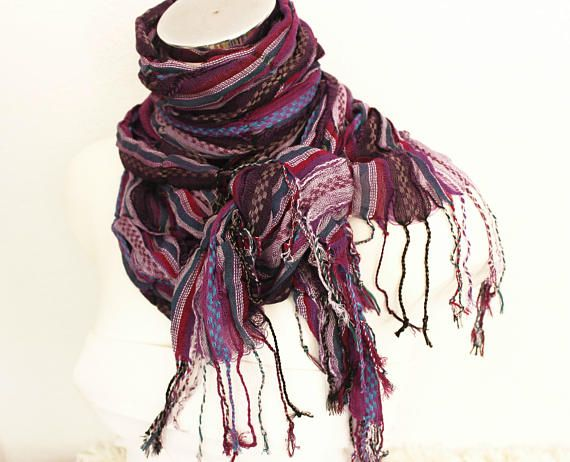 Purple cotton scarf lila gray striped wrinkled male scarf