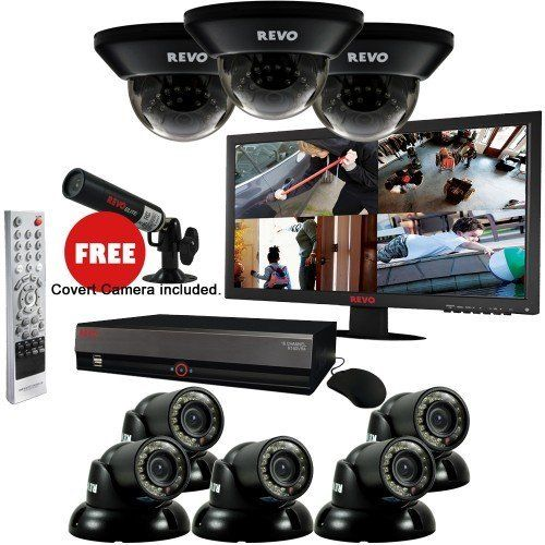 $1,299.99 #SurveillanceSystem Bundle - 16 Ch 3TB DVR, 8 700TVL 100ft Night Vision #SecurityCameras, 23 Inch #Monitor and 1 #Covert #CCTV #Cam