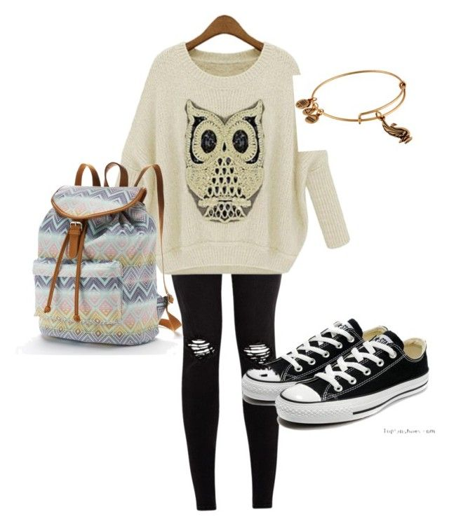 Cute fall outfit by catherineiz on Polyvore featuring polyvore, fashion, style, Converse, Candie's and Alex and Ani