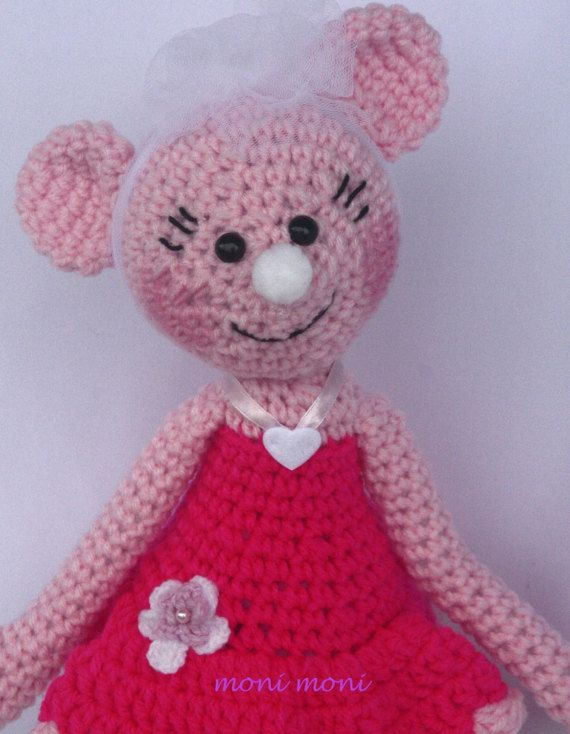 Crochet ballerina mouse made from acrylic wool and stuffed with polyester fiberfill. Please take into consideration that colors may vary in real life and on different screens.  Measurements: approx. 43 cm high  Cleaning: recommended hand wash (30°C/86°F). Flat drying prevents deformation of the items. Do not use the dryer!   All my toys are handmade with love and care and make a perfect and unique gift for birthday or a special occasion. I  This toy can be personalised by adding embroid...