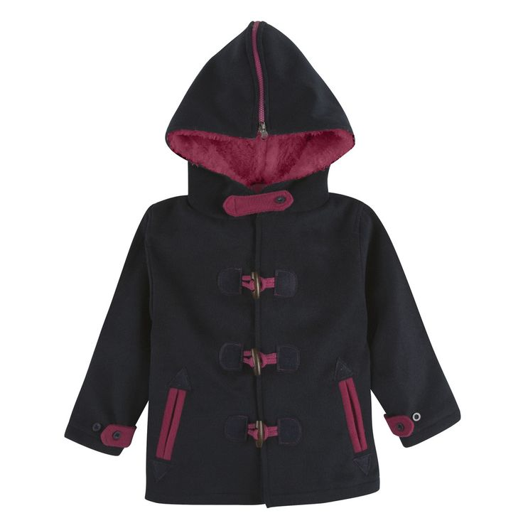 Navy and Hot Pink Toggle Pea Coat