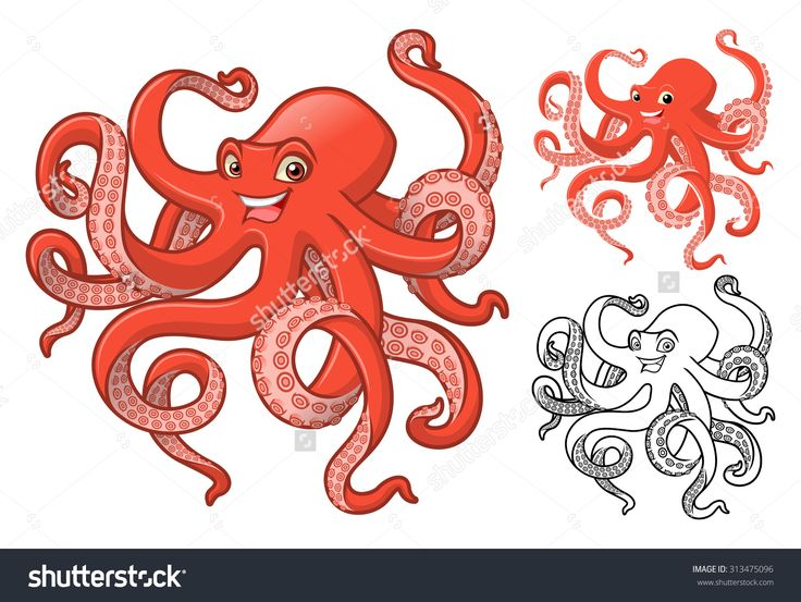 High Quality Octopus Cartoon Character Include Flat Design And Line Art Version Stock Vector Illustratie 313475096 : Shutterstock