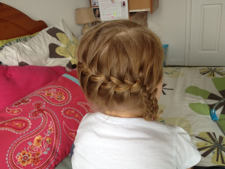 Great fun for little heads- nice idea for a little girls hair as a bit of a change while keeping it all off their face. Take plait down into a ponytail & fasten.  By Up In the Hair (by Nicole) www.facebook.com/upinthehair