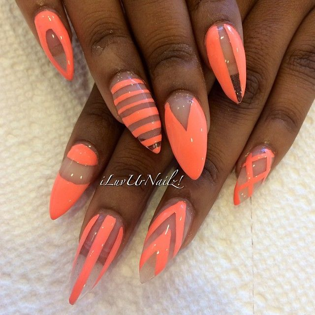 Summer orange pink almond nail art with negative space