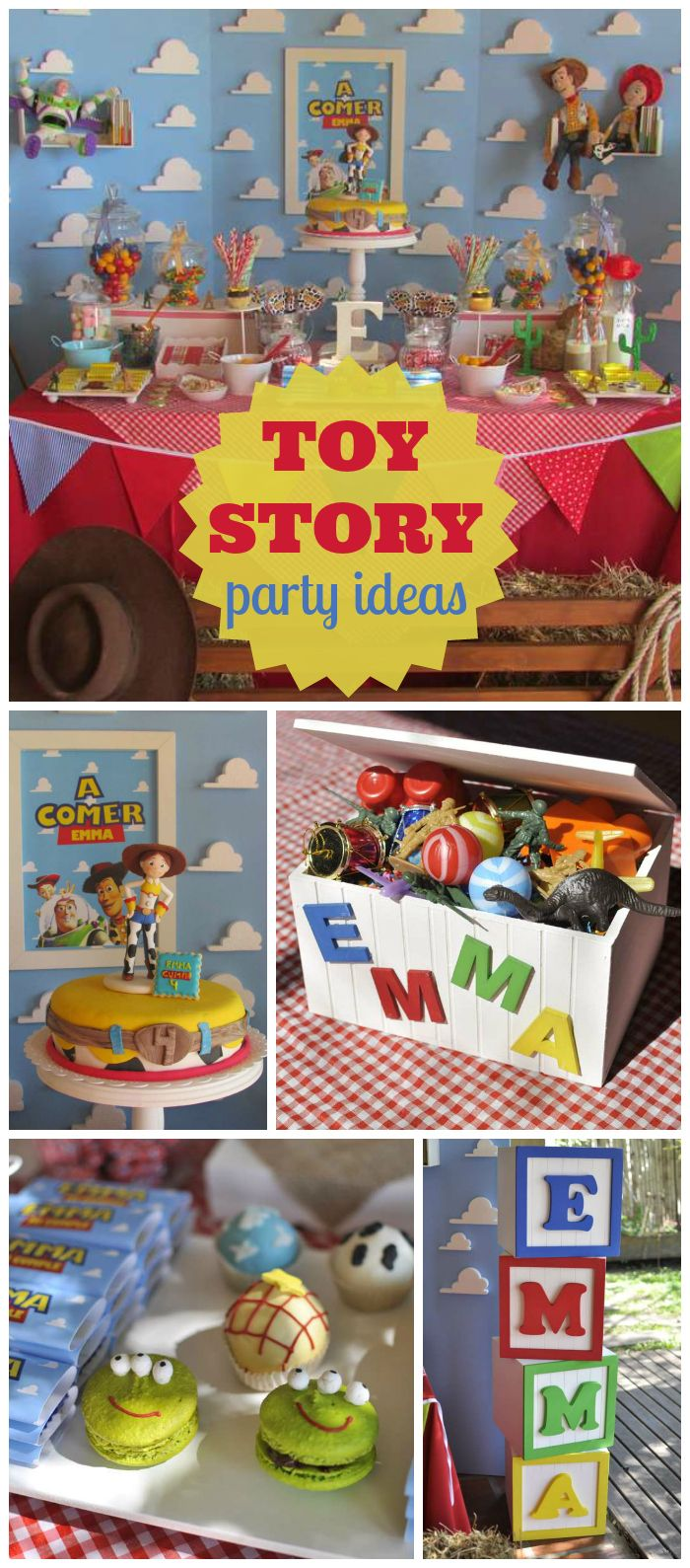 A Toy Story birthday themed party with fun decorations and cake! See more party planning ideas at CatchMyParty.com!