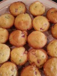 Mini Muffin Corn Dog Poppers  2 ounces cream cheese (a quarter of a block) 1 box Jiffy cornbread mix 1/3 cup milk 1 egg 2 hot dogs, diced 1 jalapeno, diced  Put cream cheese in freezer for 5-10 minutes to firm up. Preheat oven to 375 degrees. In bowl, combine the cornbread mix, milk and eggs. Fold in hot dogs, jalapeno and cream cheese cubes. Spray mini muffin pan with nonstick spray. Divide batter into muffin cups. Bake 15-20 minutes til golden.  From Anne in Salem