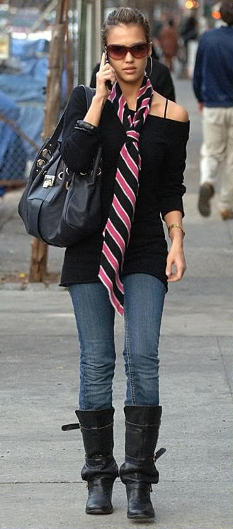 Cute scarf with off-shoulder black shirt.