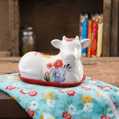"Buy The Pioneer Woman Flea Market Decorated 6.5"" Cow Butter Dish at Walmart.com"