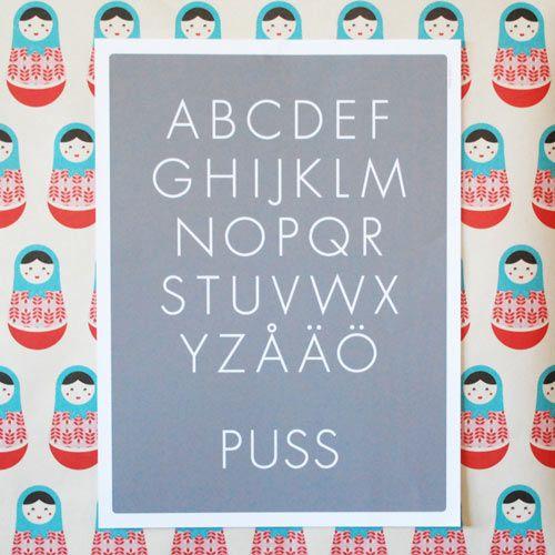 Skräddarsytt på itsteatimedarling.se #kids #barn #poster #inredning #barnrum #namntavla #dop #doppresent #födelsedag #alfabet #ABC-poster