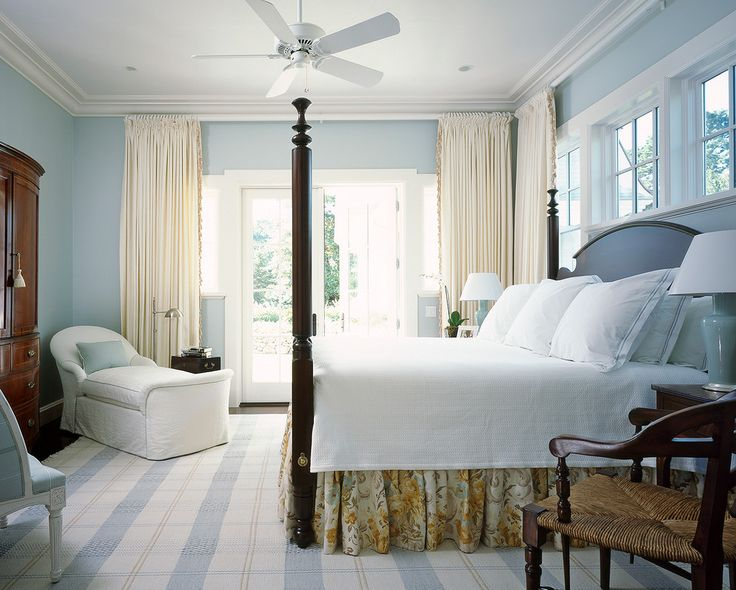 Inspired Coral Bedskirt look Other Metro Beach Style Bedroom Decorating ideas with antique dresser beach blue blue plaid rug blue walls clerestory windows coastal comfortable cozy