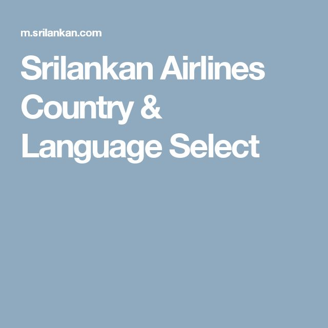 Srilankan Airlines Country & Language Select