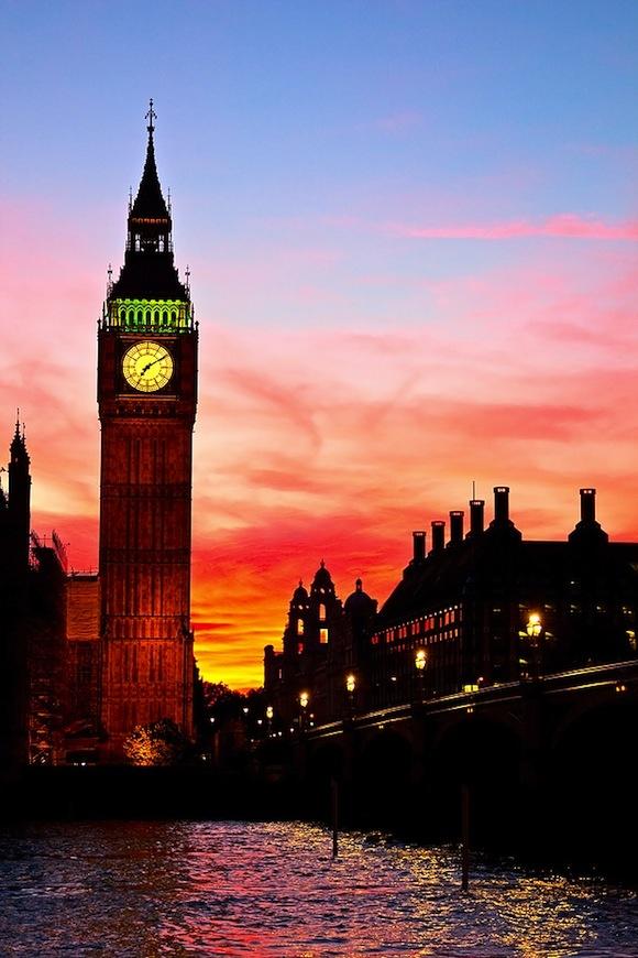Big Ben Clock Tower At Sunset