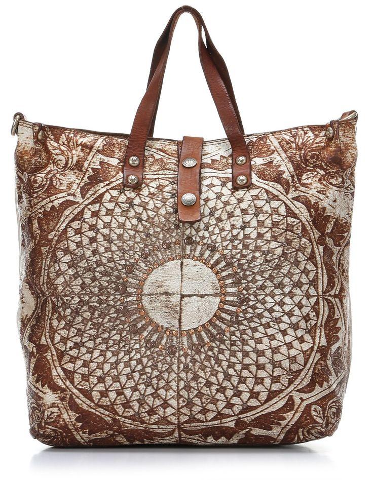 Lavata Gothic Handtasche Leder weiß 32 cm