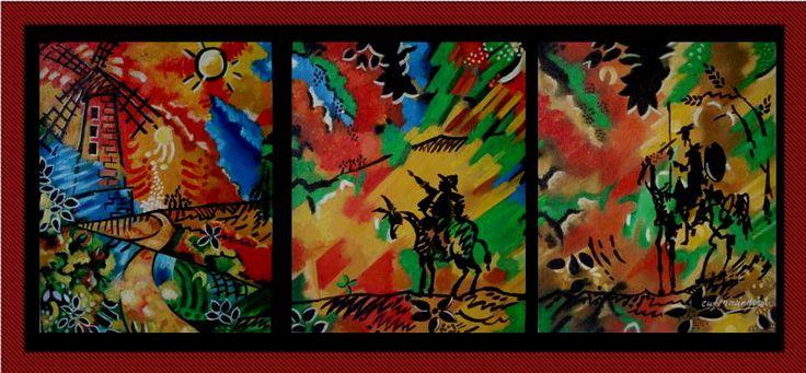 tres cuadros al oleo sobre lienzo en una sola tematica