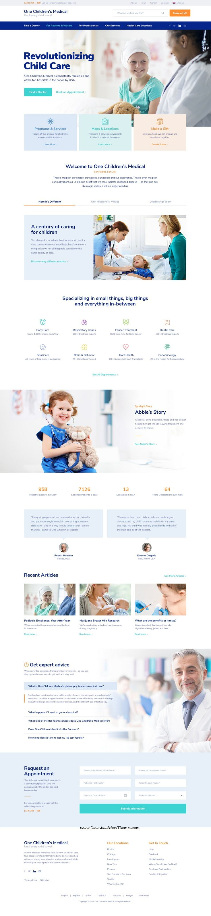 Onne is clean and modern design multipurpose #PSD template for #medical and #healthcare centers website with 21+ niche homepage layouts and 54 layered PSD files to live preview & download click on Visit