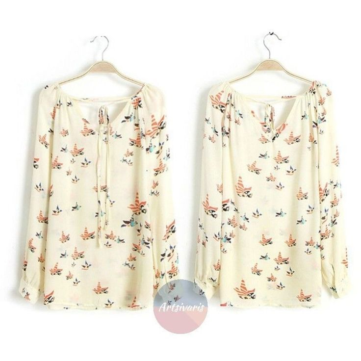 Fashion Women Chiffon Top Dove Bird Print Blouse Casual Loose Tee Shirt Tops | eBay