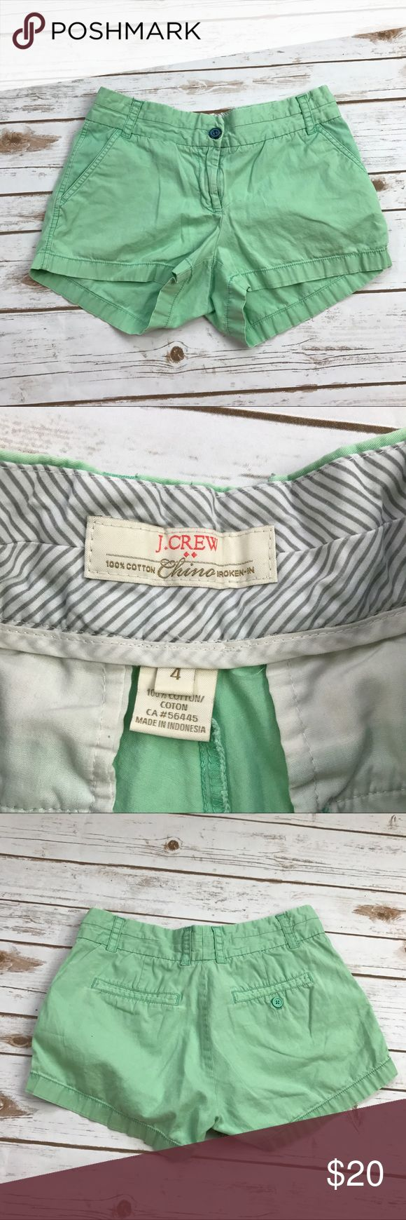 J. Crew mint green chino shorts Size 4 in very good condition. Cute mint green colored chino shorts! Waist- 15 straight across, inseam- 2.5, rise- 9 *** no modeling or trades! J. Crew Shorts
