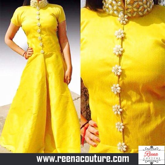 Long Modern Indowestern silk dresses with pearls and Moti.  For more details please call or whatsapp on 9819416785 or share your number we will call you.  http://www.reenacouture.com/  #gownsforcheap #designerdressesforcheap #designer #dresses #for #cheap #discounted #sale #customized #western #dress #bridal #replica #Bollywoodlook #plus-size #plus # size #xxxl #xxxxl #5xl #tailors #whole-seller #beautifulCollection #Celebrity #party #IndianFashion #Trend #Offers #FestiveCollection