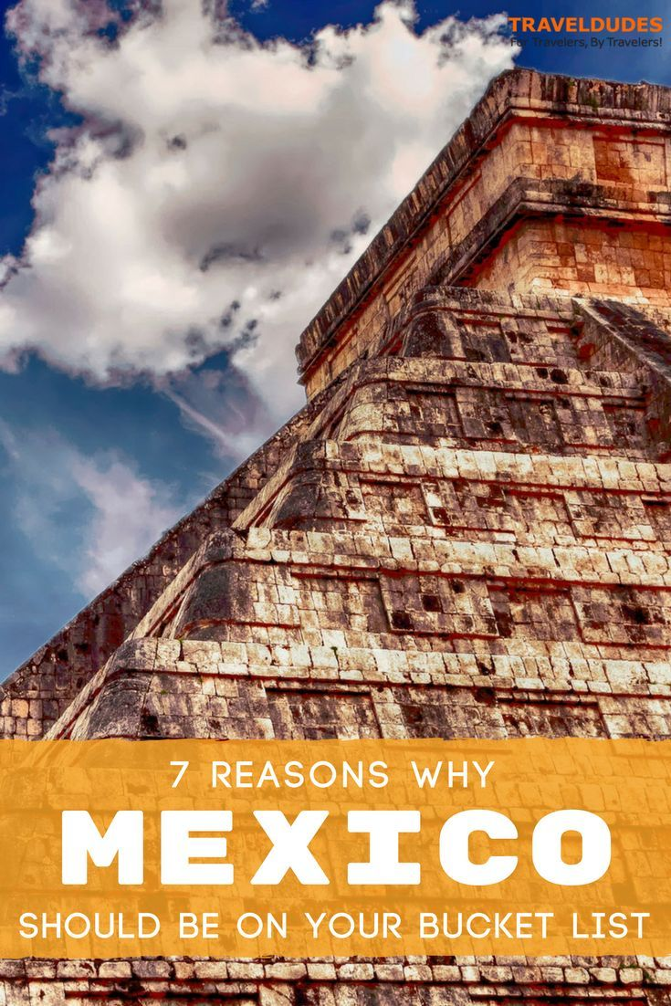 7 reasons you should choose Mexico as your next travel destination. Not only is it incredibly affordable, this latin nation offers everything from beaches and resort towns to ancient ruins, jungles and hidden cenotes. When you add in incredible Mexican food and perfect weather, it's really a no brainer. Travel in Mexico.  | Travel Dudes Travel Community #Mexico