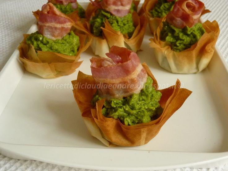 Cestini di pasta filo con crema di asparagi e pancetta croccante
