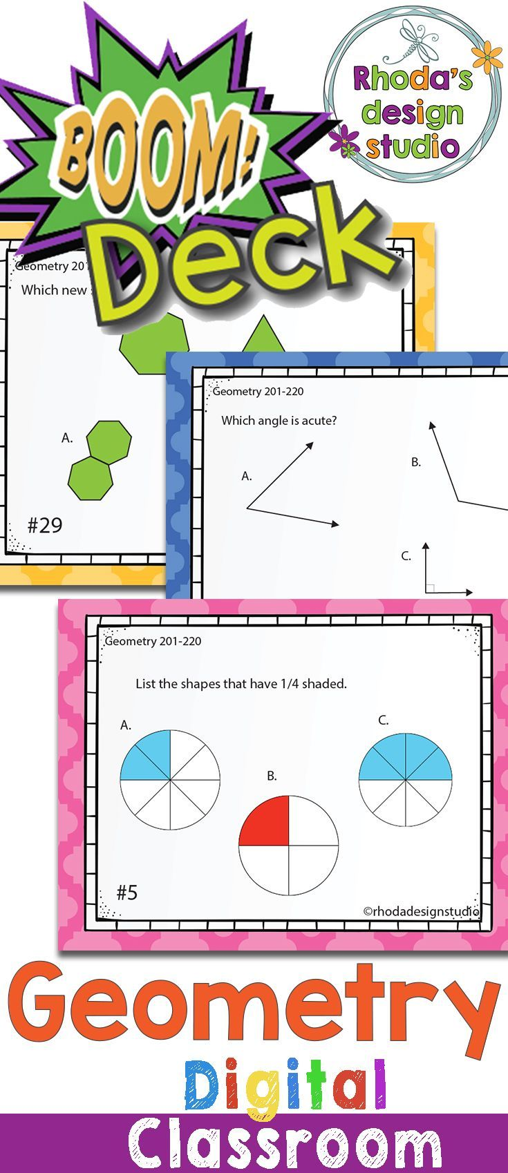 Boom Learning Deck covers RIT Band 181-190: Geometry include: defining coordinates, sides, angles, visualizing new shapes, naming 2D shapes, faces and sides of 3D shapes, parallel and perpendicular lines, and lines of symmetry.  These can be used as review, for test prep, independent centers, or to assess skills that your students need to master. #boomdeck #digitalclassroom #googleclassroom