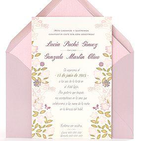 Invitación de boda exótica y original con flores en rosa, malva y verde, sobre malva: Papua