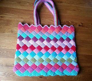 Tunisian Entrelac Tote Bag ~ free pattern ᛡ