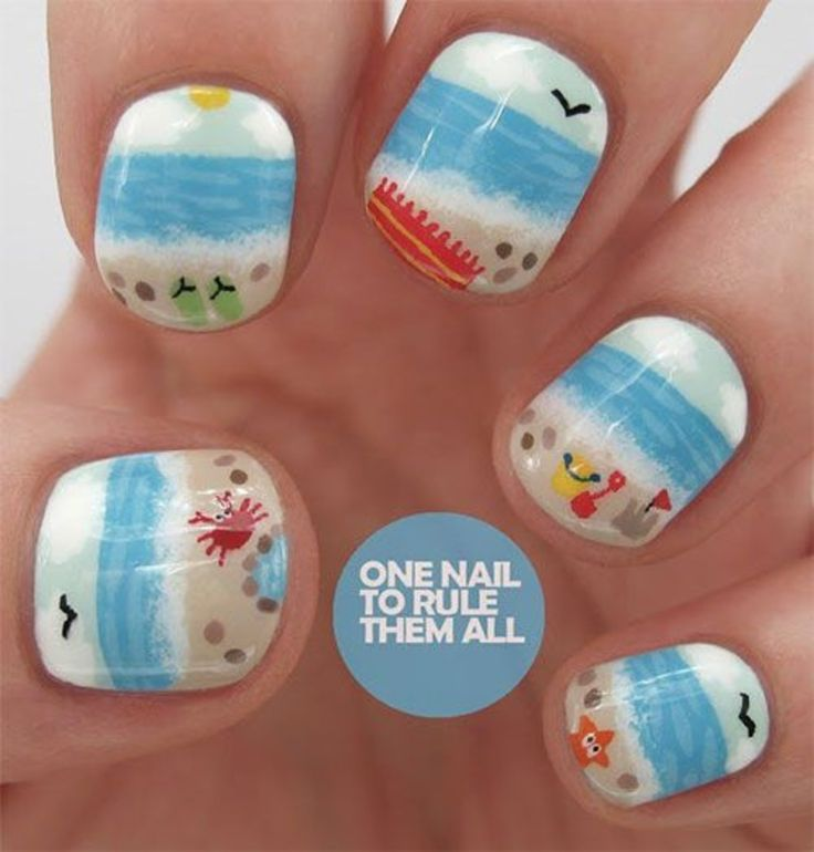 The 25 best beach themed nails ideas on pinterest beach nails 40 awesome beach themed nail art ideas to make your summer rock prinsesfo Image collections