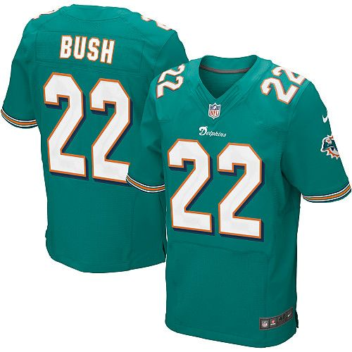 mens nike miami dolphins 22 reggie bush elite team color green jersey 129.99