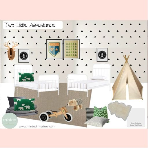 #mintedinteriors #childrensinteriordesign #children #teepee #walldecals #adventure #boysroom