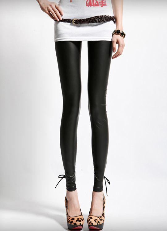 Black Leather String tie Metallic Legging  $23.20