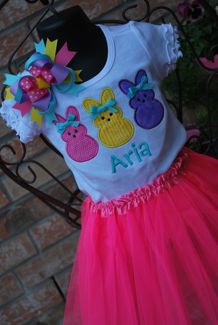 Personalized Peeps Easter Shirt with Bow by sewglamourouscreatio, $35.00