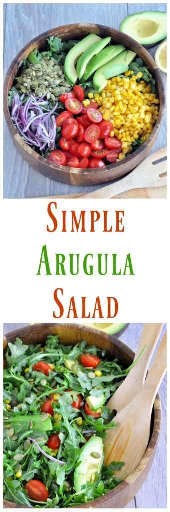 This Simple Arugula Salad is filled with good for you ingredients. Whip it up super fast. Vegan and gluten free. Can be paleo friendly if you omit the corn.